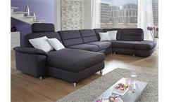 Wohnlandschaft DELANO mit Longchair links Stoff anthrazit