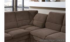 Ecksofa Ginger in Stoff braun Ottomane links 3-sitzer Sofa rechts mit Federkern