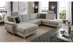 Wohnlandschaft Winston Ecksofa Sofa Polstermöbel U-Form in grau weiß 321 cm