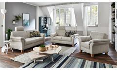 Sofa Borkum 3-Sitzer 3er Couch in Stoff natur mit Federkern 186 cm Landhausstil