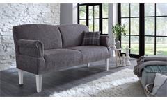 Sofa PAISLEY 3-Sitzer in Stoff grau weiß Federkern Armteilverstellung