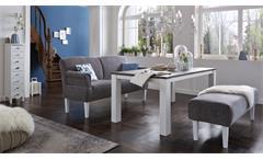 Sofa Paisley 3-Sitzer Küchensofa Stoff grau weiß Federkern Armteilverstellung
