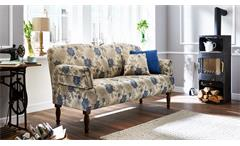 Sofa PAISLEY 3-Sitzer in Stoff beige blau Federkern Armteilverstellung