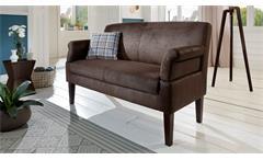 Sofa MALMÖ 2-Sitzer in Stoff antik braun Federkern Armteilverstellung