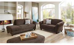 Garnitur GOTLAND Sofa Recamiere Stoff esspresso braun inkl. Federkern