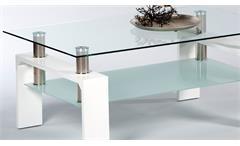 Couchtisch Mano Wohnzimmertisch Beistelltisch Tisch weiß Hochglanz Glas 100 cm
