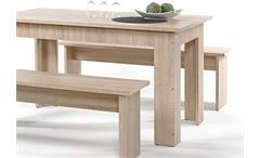 Tischgruppe Corporal Bankgruppe Essgruppe Tisch Bänke weiß mit 6 Kissen braun