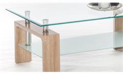Couchtisch Mano Wohnzimmertisch Beistelltisch Tisch Sonoma Eiche Glas 100 cm