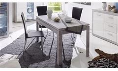 Esstisch Stone Küchentisch in Beton Optik grau und weiß Hochglanz 140-180x80 cm
