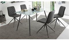 Esstisch Kasia Tisch Glasplatte Sandgestrahlt Gestell Metall graphit 140x80 cm