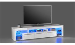 TV-Board Goala 2 Lowboard HiFi Möbel in MDF weiß Hochglanz inkl. LED-Beleuchtung
