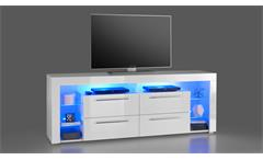 TV-Board Goala 3 Lowboard HiFi Möbel in MDF weiß Hochglanz inkl. LED-Beleuchtung