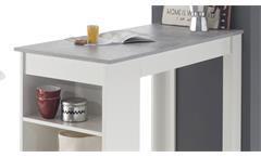 Bartisch Moyito Tresentisch Bistrotisch Küchentisch weiß Beton mit Regal 115x50