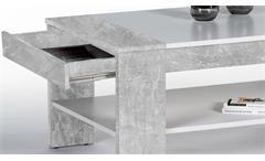 Couchtisch Finley Plus Tisch in Betonoptik und weiß mit 1 Schubkasten 100x58 cm