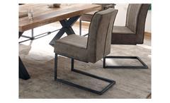 Schwingstuhl Shindy 2er-Set Stuhl Stoff taupe und Metall schwarz inkl. Federkern