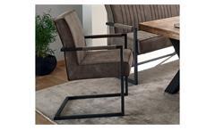 Armlehnstuhl Shindy 2er-Set Stuhl Stoff taupe und Metall schwarz inkl. Federkern