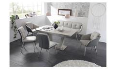 Tischgruppe Esszimmer Scott Emily grau Tisch Keramik Auszug Stühle Bank Stoff