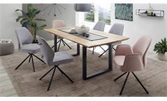 Tischgruppe Benneta Nela Eiche massiv 200 cm Set 7-teilig Esszimmerstühle grau hellrosa