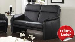 Sofa HAMPTON 2,5-Sitzer in Echtleder schwarz mit Federkern
