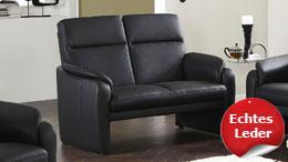 Sofa HAMPTON 2-Sitzer in Echtleder schwarz mit Federkern