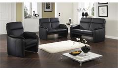 Sofa 2-Sitzer Polstersofa Couch Hampton Echtleder schwarz mit Federkern 140 cm