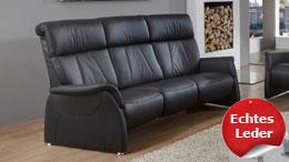Sofa ADAIR 3-Sitzer Relaxsofa in Echtleder schwarz 201 cm