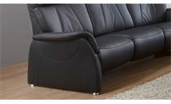 Sofa 3-Sitzer Relaxsofa Polstersofa Couch Adair in Echtleder schwarz 201 cm