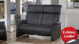 Sofa ADAIR 2-Sitzer Relaxsofa in Echtleder schwarz 144 cm