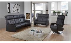 Drehsessel Sessel Relaxsessel Fernsehsessel Adair Style in Echtleder schwarz
