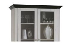 Vitrine Monaco Schrank Kiefer massiv weiß white wash und kolonial B 104 cm