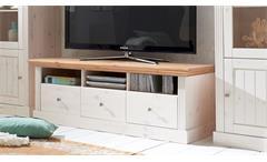 TV-Board MONACO Kiefer massiv Weiß White Wash Provence