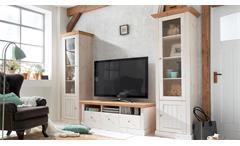 TV-Board Monaco Lowboard Kiefer massiv weiß white wash und Provence