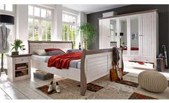 Schlafzimmer Monaco Schrank Bett Nakos Kiefer massiv white wash und Stone