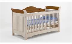 Babybett Lotta Babyzimmer Bett Kiefer massiv weiß white wash und Provence