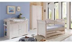 Babyzimmer Lotta Babybett Schrank Wickelkommode Kiefer massiv weiß white wash