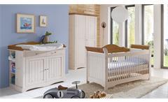 Babyzimmer Lotta Babybett Schrank Wickelkommode Kiefer massiv white wash Provence
