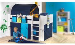 Hochbett STEENS FOR KIDS Kiefer Weiß Vorhänge Blau 90x200 cm