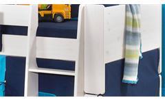 Hochbett Steens for Kids Bett Kiefer massiv weiß Vorhänge Taschen Tunnelzelt Blau 90x200 cm