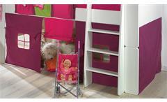Hochbett Steens for Kids Bett MDF weiß Vorhänge Taschen Tunnelzelt lila pink 90x200 cm