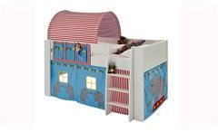 Hochbett Steens for Kids Bett MDF weiß Vorhänge Taschen Tunnelzelt Zirkus 90x200 cm