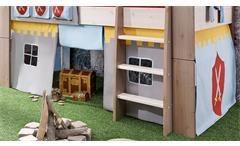 Hochbett Steens for Kids Bett Kiefer massiv white wash Vorhänge Tunnelzelt Ritter