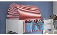 Hochbett Steens for Kids Bett mit Gästebett MDF weiß Stoff Zirkus 90x200 cm