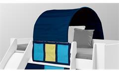 Hochbett Steens for Kids Bett mit Rutsche MDF weiß Vorhänge Tunnelzelt lila pink 90x200 cm