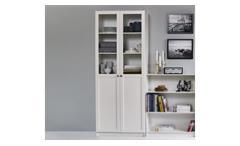 Regal Anette Schrank mit Glastüren Vitrine Glasvitrine in weiß Wohnzimmer