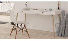 Schreibtisch Soft Line in weiß und Eiche massiv Bürotisch Computertisch Tisch