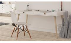 Schreibtisch Soft Line in weiß und Eiche massiv Computertisch Bürotisch Tisch