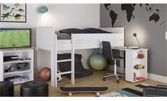 Hochbett ALBA Kinderbett Bettgestell MDF weiß 90x200 cm