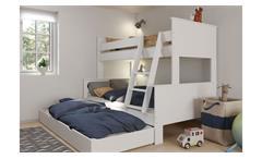 Familienbett ALBA Etagenbett Bett MDF weiß 90-120x200 cm