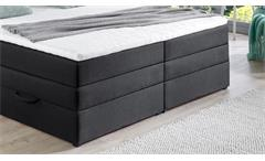 Boxspringbett BX1090 Hollywood Stoff schwarz mit Topper Bettkasten 180x200 cm