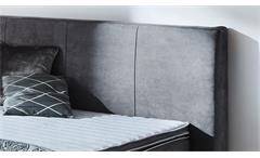 Boxspringbett Tacoma BX1150 Stoff grau Taschenfederkern inkl. Topper 180x200 cm